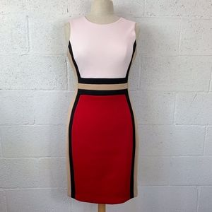 Calvin Klein Size 6 Color Block Sheath Dress